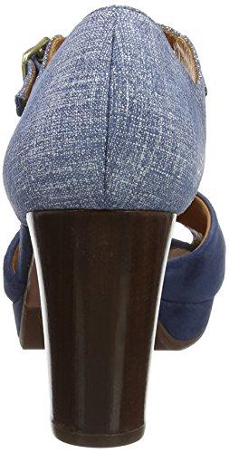 Chie Mihara Gada, Sandalias de Tacón para Mujer Gris/Azul (Ante Pizarra-Saco Denim)