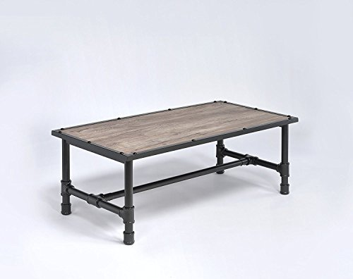 Major-Q Industrial Style Coffee Table For Living Room, Rectangular, Wood Rustic and Oak Finish, 48 x 24 x 18