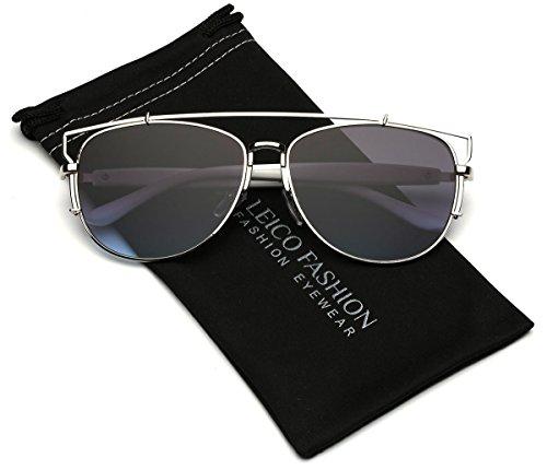Metal Crossbar Flat Lens Reflective Aviator - Cheap Trendy Sunglasses
