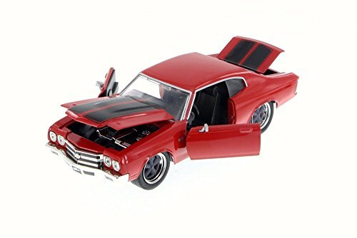 1970 Dom's Chevy Chevelle SS, Glossy Red - Jada 97309 - 1/24 Scale Diecast Model Toy Car