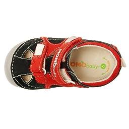 Momo Baby Boys First Walker/Toddler Thomas Black/Red Leather Sandals - 4 M US Toddler