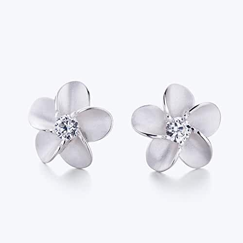Eove Jewelry Women Sterling Silver Hawaiian Plumeria Flower Cubic Zirconia Stud Earrings