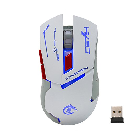 Wireless Gaming Mouse Ergonomics Portable 2.4GHz Befullo X30 Optical Mice with USB Receiver (White)