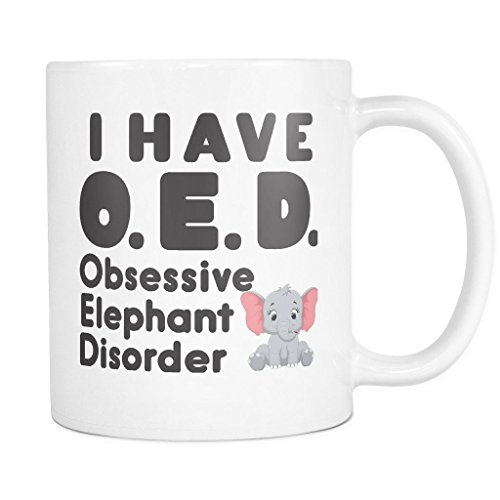 ArtsyMod OED OBSESSIVE ELEPHANT DISORDER Premium Coffee Mug, PERFECT FUN GIFT for the Elephant Lover! Attractive Durable White Ceramic Mug (11oz., Black Text) - White Wall Pockets Diffuser