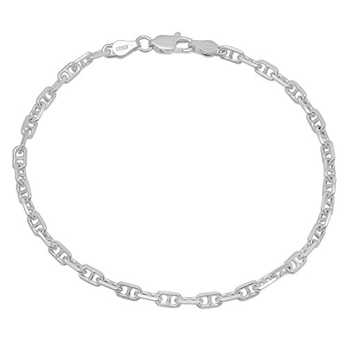 3.5mm Authentic .925 Sterling Silver Beveled Mariner Chain Bracelet/Anklet, 10 inches + Bonus Polishing Cloth 4mm Silver Mariner Bracelet