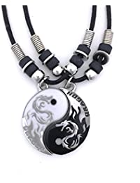 Tapp Collections™ Dragon Yin Yang 2 Pewter Pendant Necklaces Set