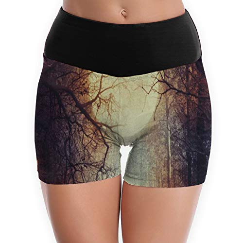 Compression Shorts Happy Halloween Full Moon High Waist Yoga Shorts Fitness Bike Shorts -