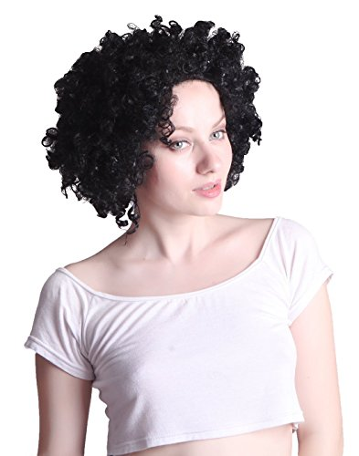 [HDE Neon Color Afro Curly Clown Halloween Costume Party Wig Fake Goofy Unisex Hair (Black)] (Chop Chop Halloween Costumes)