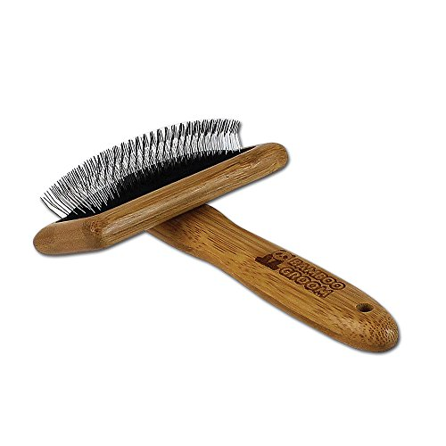 Bamboo Groom Slicker Brush with Stainless Steel Pins for Pets, Medium