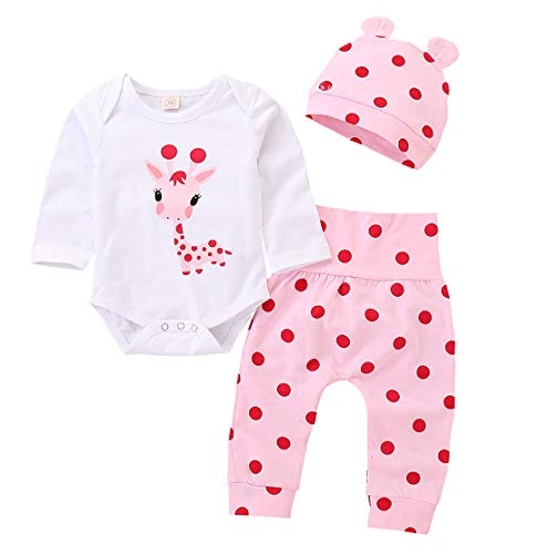 (AILENFEISO Newborn Toddler Baby Girl Outfits Giraffe Bodysuit Top + Pink Legging Pants Set with Hat Infant Clothes)