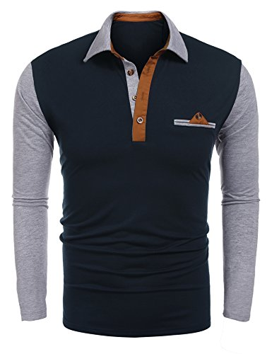 8a6b0fc6e95 JINIDU Mens Slim fit Casual Polo Shirt with Pockets Short Sleeves Golf Shirt