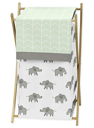 Sweet Jojo Designs Mint, Grey and White Baby Kid Clothes Laundry Hamper for Watercolor Elephant Safari Collection