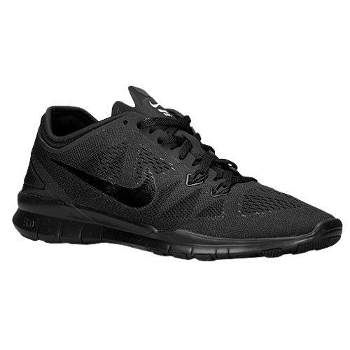 Nike 704674 Free 5.0 TR Fit 5 Womens Training Shoes - Black/Black/Black - 8