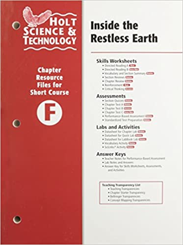 Amazon Holt Science Technology Inside The Restless Earth