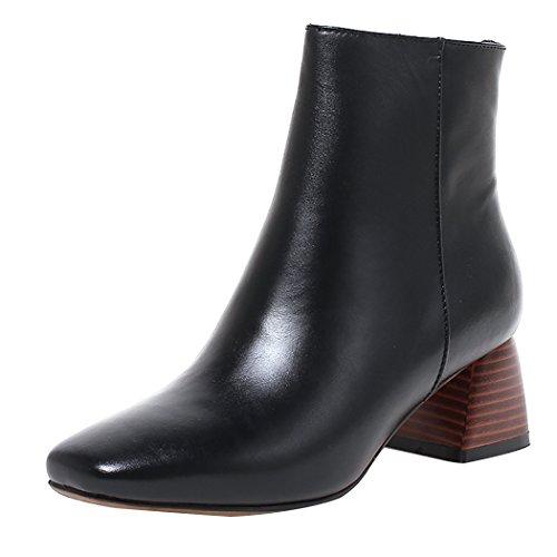tacones Botines QIN Toe Square Las bloque Black de con amp;X zapatos corto mujeres's plataforma CXqqFHaw