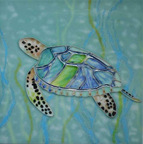 - Sea Turtle Swimming in Seaweed Coastal 4X4 Inch Ceramic Tile