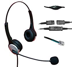 Voistek Corded Binaural Call Center Telephone RJ Headset Noise Cancelling Headphone with Mic and Quick Disconnect for Avaya Nortel Polycom Nec GE Office Landline IP Phones Deskphone (H20PA10)