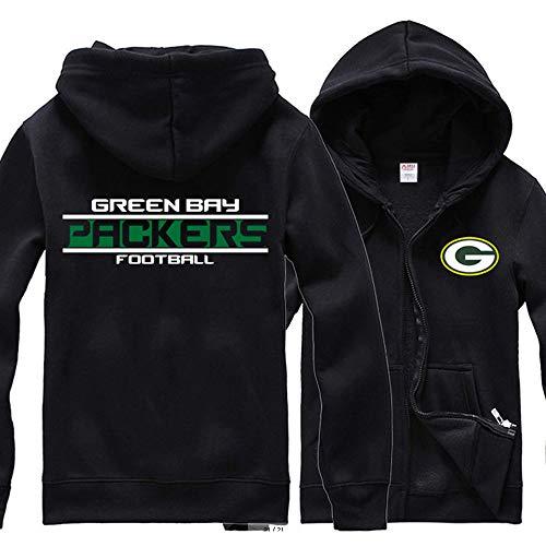 Rugby Sudaderas con Capucha De Green Bay Packers Jersey del Fútbol Americano Hombres De Cremallera Chaqueta De Punto…