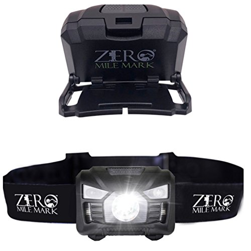 Zero Mile Mark LED Headlamp – Rechargeable via USB Cord Included – Angle Adjustable – Motion Activated On/Off and Strobe – Water Resistant with Red Light – Bright 160 Lumens (Usb Black Mark Sensor)