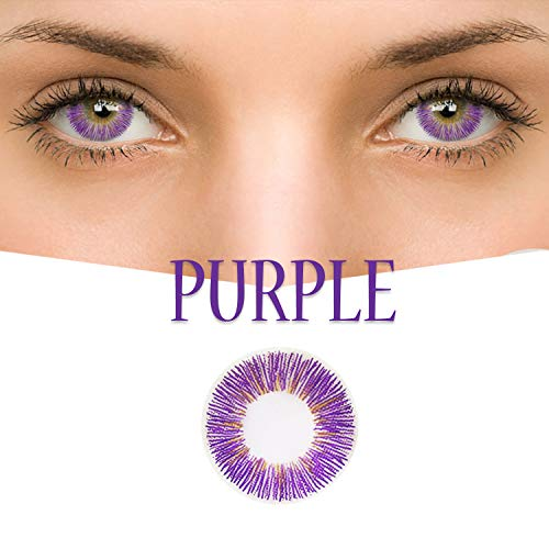 GL-Turelifes Multicolor Contact Lens 0 degree Cute Charm and Attractive Fashion Eye Accessories Cosmetic Makeup Eye Shadow for Party Cospaly Halloween (Purple) ()
