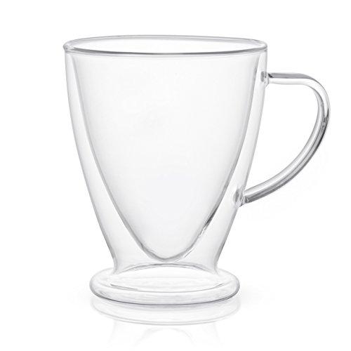 JoyJolt Declan Irish Glass Coffee Cups Double Wall Insulated Mugs Set of 2 Latte Glasses, 15-Ounces. by JoyJolt (Image #1)