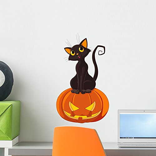Wallmonkeys Halloween Cat on Pumpkin Wall Decal Peel