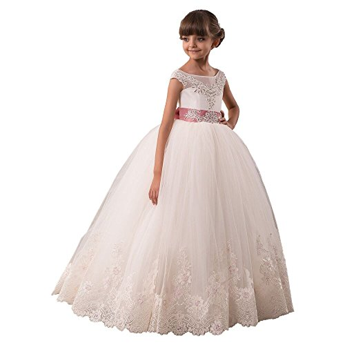 Carat Glitz Vintage Pageant Ball Gowns Open Back First Communion Dresses for Girls 2-12 Year Size 2,Ivory with Pink (Halloween Glitz Pageant Dresses)