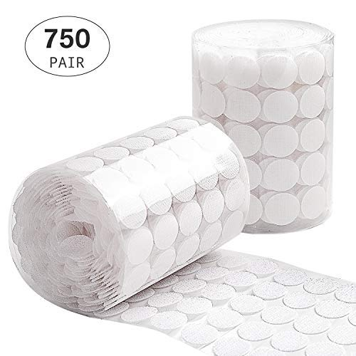Self Adhesive Dots, Flare Up 1500pcs(750 Pairs) 0.78inch Diameter Sticky Back Coins Hook and Loop Dots with High Adhesion, Best for School,Office, Home(White)]()