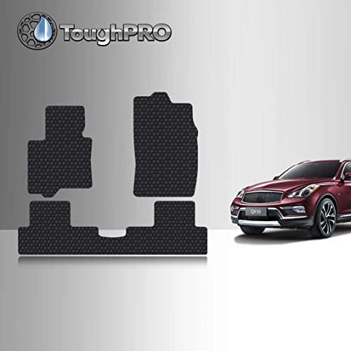 TOUGHPRO Floor Mat Accessories Set (Front Row + 2nd Row) Compatible with Infiniti QX50 – All Weather – Heavy Duty – (Made in USA) – Black Rubber – 2016, 2017
