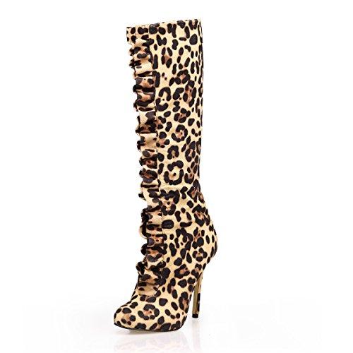 Hiver Bottes Talons Léopard Hauts Chaussures Jaune Genou Femmes Bot 12CM Automne qTEwFxPB
