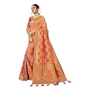 MANOHARI Women's Woven;Banarasi Silk Blend Saree With Blouse Piece (MN677)