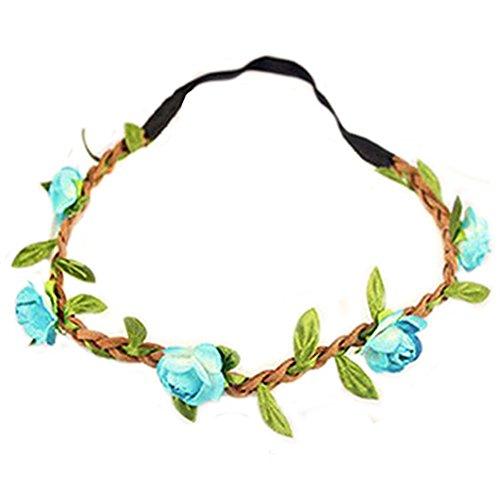 Hippie-Liebe Blumenkranz Blumenkrone Festival Hochzeit Haarkranz BOHO Blumenstirnband (Blau)