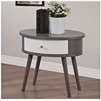 Pedestal Nightstand Side Table with Drawer Storage Bedroom Grey