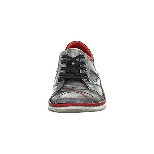 KRISBUT Damen Sneaker Aus Glattleder mit Used-Effekten in Grau Grau Rot Kombi