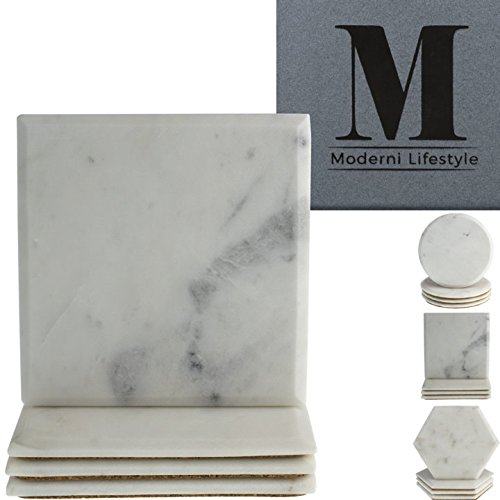 Agate Round Ring (Premium Marble Coasters - World Class Quality Makrana Marble by Moderni Lifestyle - Round, Square & Hexagonal Designs - Protective Cork Backing - Luxury Gift Box Set Of 4-4 inch 10cm diameter)