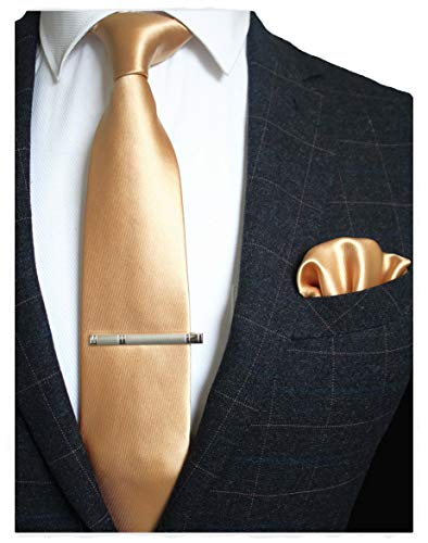 JEMYGINS Mens Formal Gold Necktie and Pocket Square, Hankerchief and Tie Bar Clip Sets - Gold Handkerchief Color Necktie