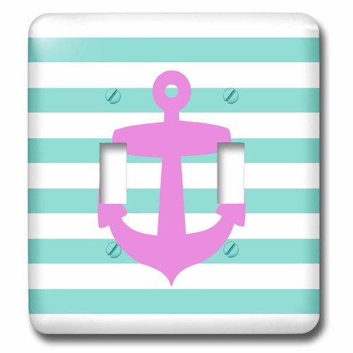 3dRose LSP 57475_ 2Retro Ancla Rosa con azul turquesa azul Sailor patrón de rayas–French–diseño a rayas...
