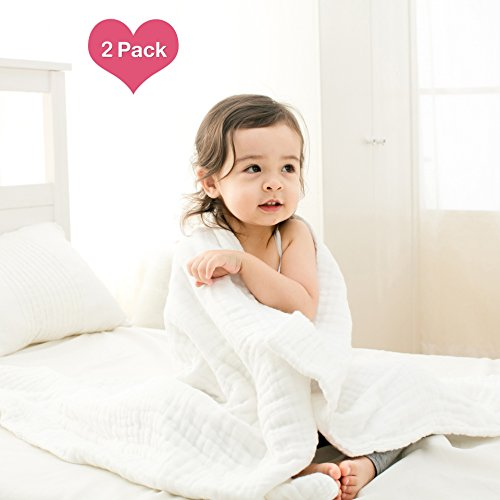 Medical Grade Natural Antibacterial,Super Water Absorbent,Soft and Comfortable,Suitable For Baby's Delicate Skin,Cotton Gauze Warm Baby Bath Towels Also For Baby Blanket -2 Pcs