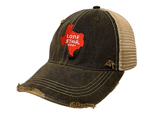 Lone Star Beer Brewing Co Retro Brand Mudwashed Denim Worn Mesh Snapback Hat -