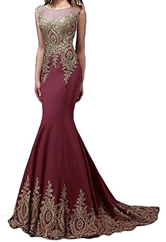 Appliques Prom Evening Butmoon with for Women Mermaid Long Dress Burgundy Prom Sexy Maxi Gown wnqR4T