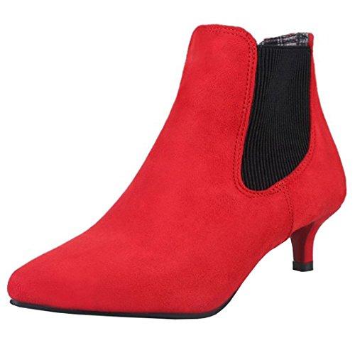 Artfaerie Women's Kitten Heel Pointed Toe Nubuck Leather Court Shoes Elegant Slip On Ankle Boots Red