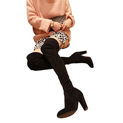 muslo altas rodilla nbsp;microfibra sobre Kaitlyn nbsp;– Pan Negro botas alta la Sartén Talón q46gxZz