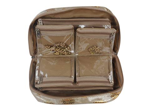Global Wonders Brocade Cosmetic Organizer Pouch, Gold