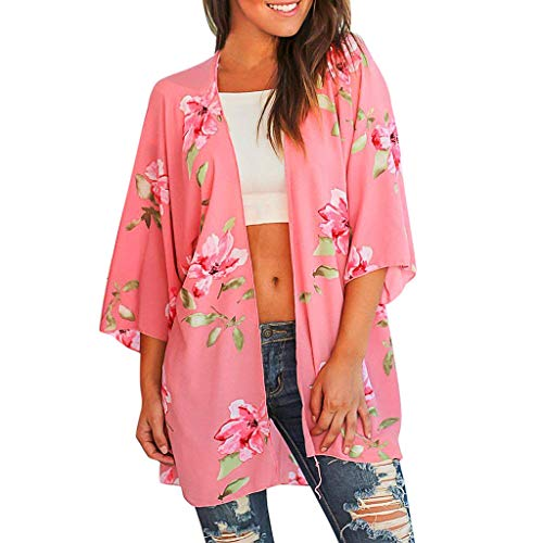 (FORUU Cardigans for Womens, Ladies Floral Printed Loose Short Half Sleeve Chiffon Kimono Tops Blouses Bridesmaid Wedding 1920s 1950 Newest Arrivals Trendy Stylish Elegant Cute )