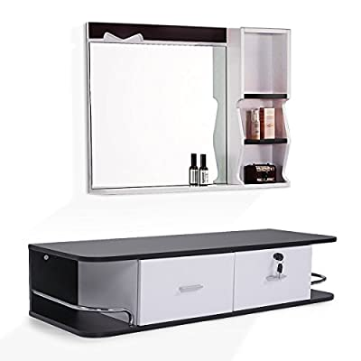 Salon Classic Wall Mount Styling Station Beauty Salon Spa Equipment Cabinet Black and White