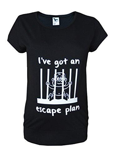 Grossesse/maternité Taille 38–48 T-Shirt Tunique coton Impression devant Bébé en prison Noir