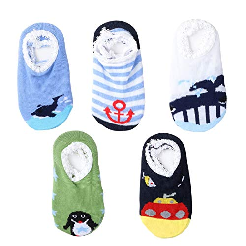 Baby Walker Socks, Anti Slip Skid Baby Socks, Ankle Cotton Baby Walkers, Toddler Baby Stuff for 6-24 Months (5 Pairs, Ocean series)
