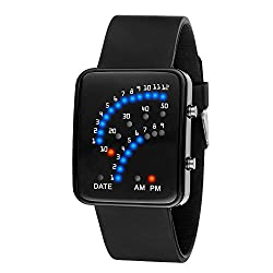 Learnin Women Mens Futuristic Style Multicolor LED Sport Wrist Watch of Silicone Band (Black)
