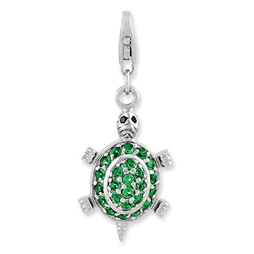 Jewelry Adviser Sterling Silver Rhodium plated CZ Green Turtle w/Lobster Clasp Charm - Green Turtle Italian Charm