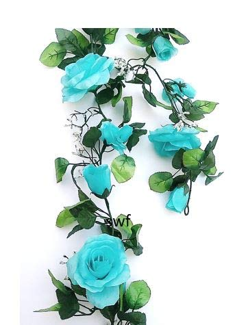 6' Open Rose Garland Artificial Silk Wedding Bridal Flowers Home Decor (Aqua) ()